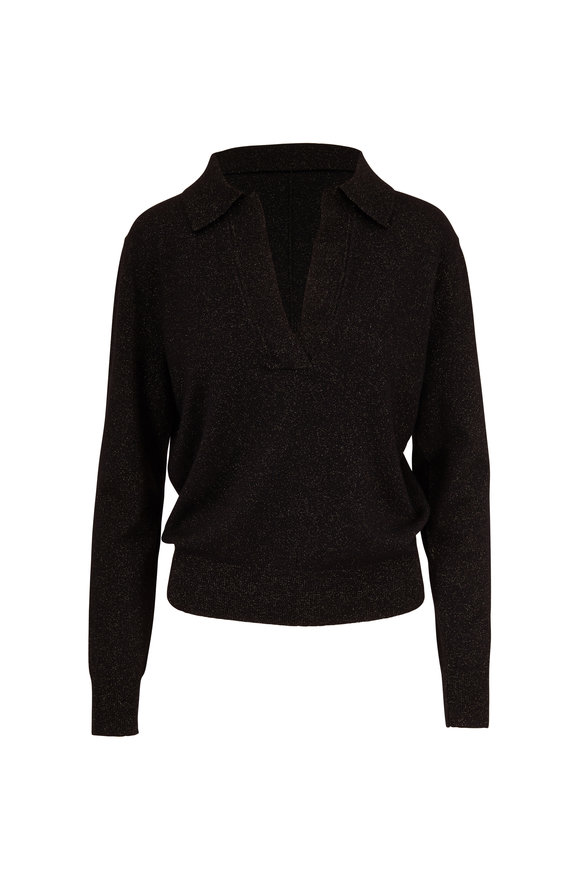Nili Lotan Stanton Black & Gunmetal Wool Knit Sweater
