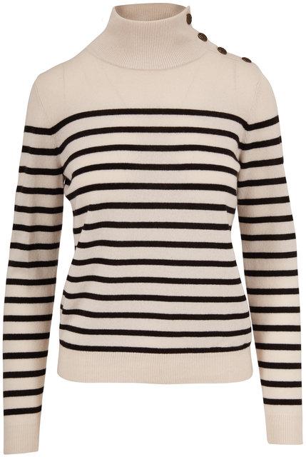 Nili Lotan Beale Ivory & Black Striped Cashmere Sweater