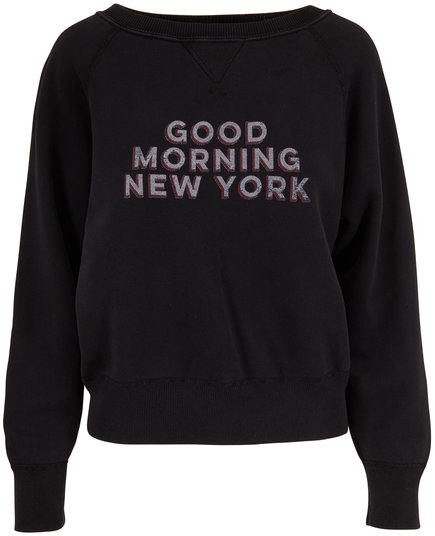 Nili Lotan Black Good Morning NY Sweatshirt