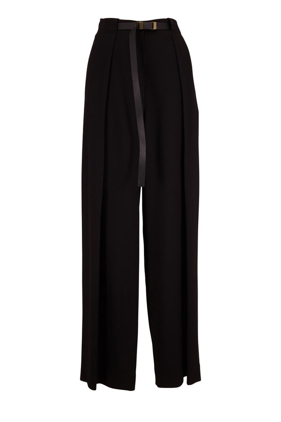 The Row Brona Black Wool Full Pleat Belted Pant