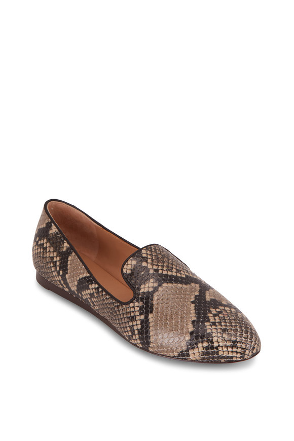 Veronica Beard Griffin Taupe Snakeskin Embossed Flat