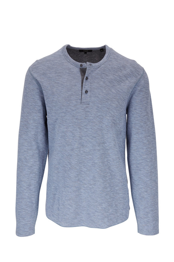 Vince Infinity Blue & Gray Double Knit Henley
