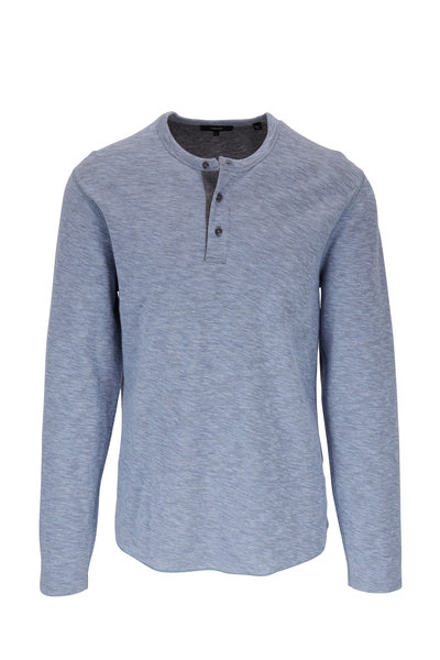 Vince - Infinity Blue & Gray Double Knit Henley