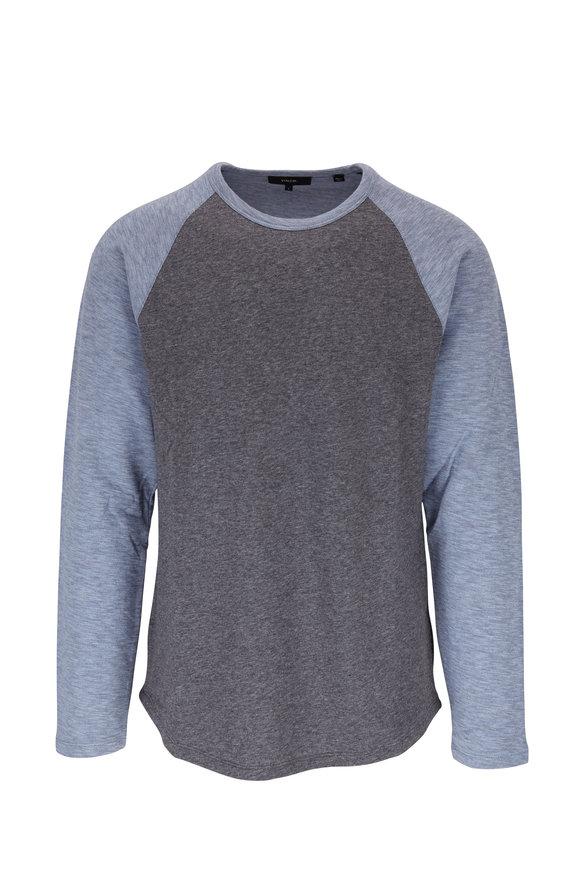 Vince Infinity Blue & Gray Long Sleeve Baseball T-Shirt