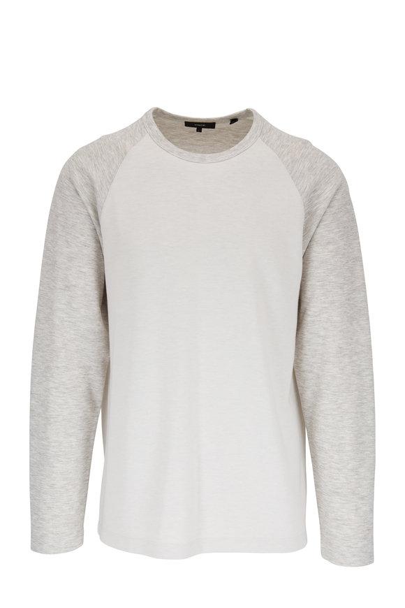 Vince Heather White & Leche Long Sleeve Baseball T-Shirt