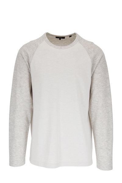 Vince - Heather White & Leche Long Sleeve Baseball T-Shirt