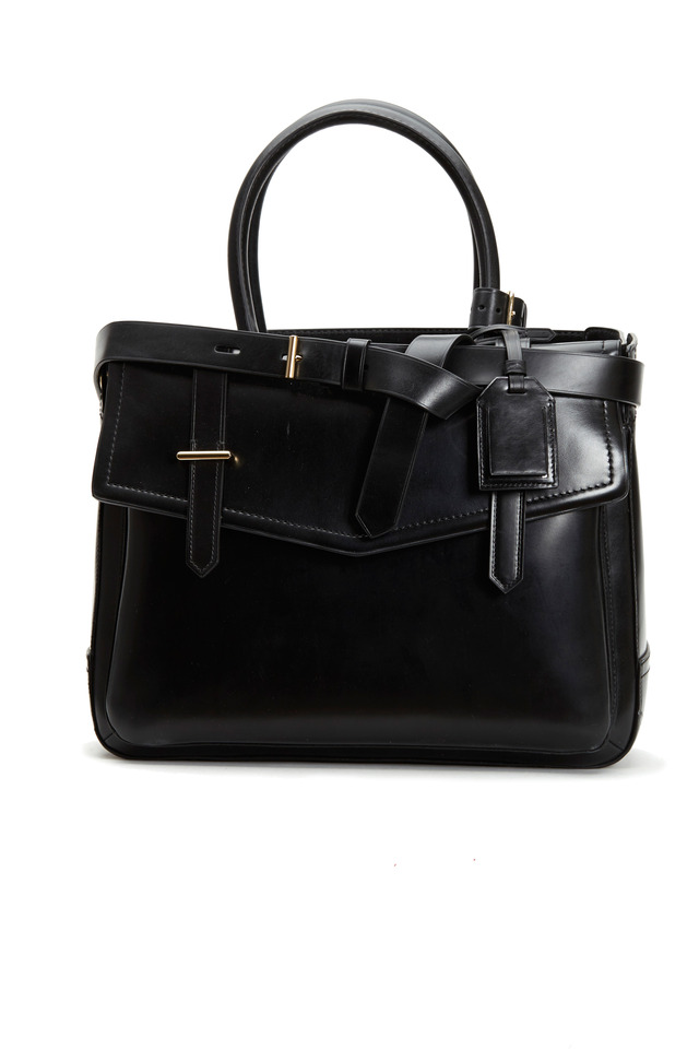 Boxer Black Polished Leather Small Tote