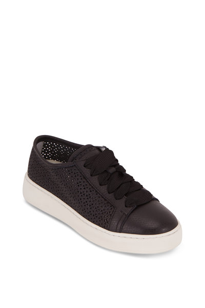 Santoni - Cleanic Black Perforated Leather Sneaker