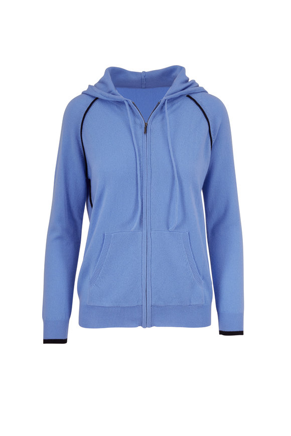 Chinti & Parker Sky Blue & Navy Cashmere Front Zip Hoodie