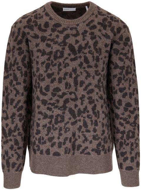 BLDWN Nevill Taupe Cheetah Print Crewneck Sweater