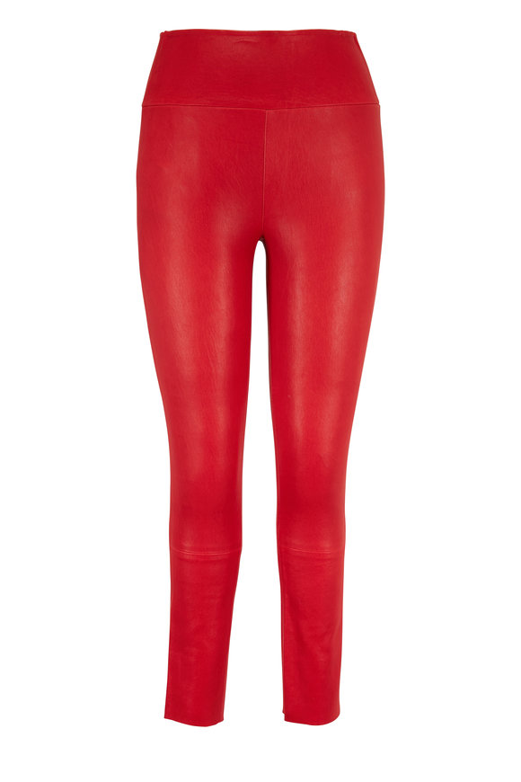 SPRWMN LLC Red Leather High Waist Capri Legging