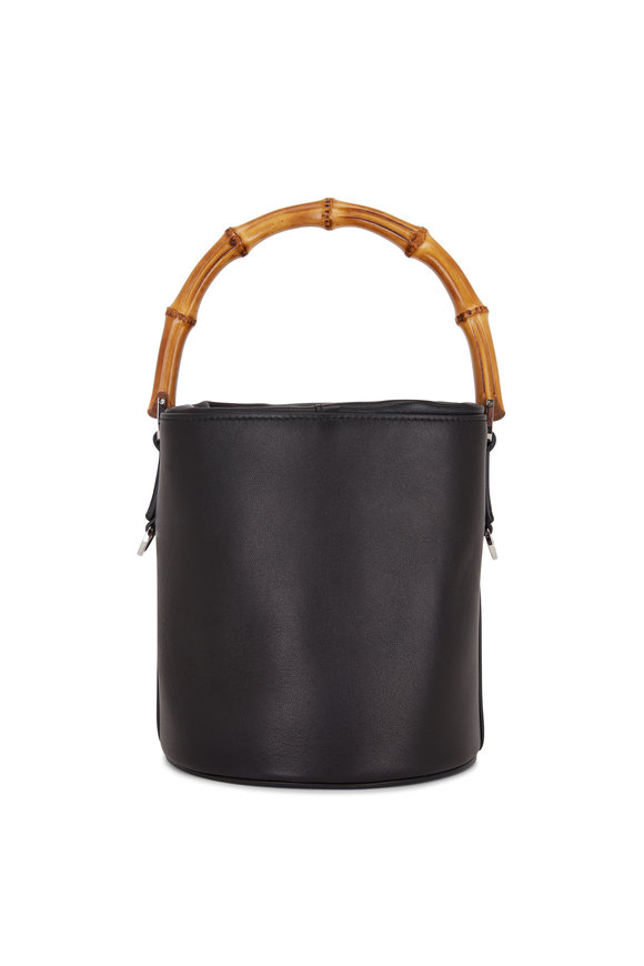Jil Sander Black Leather Bamboo Handle Small Bucket Bag