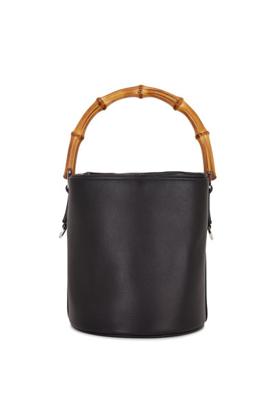 Jil Sander - Black Leather Bamboo Handle Small Bucket Bag