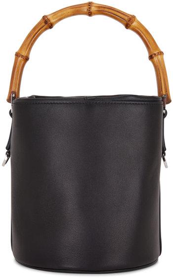 Jil Sander Black Leather Bamboo Handle Small Bucket Bag