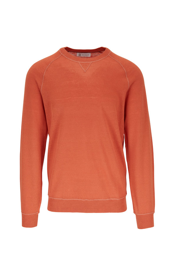 Brunello Cucinelli Orange Cotton & Linen Raglan Sleeve Sweater