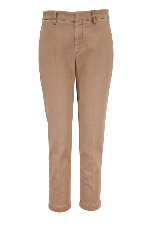 Brunello Cucinelli Rice Stretch Cotton Monili Belt Loop Skinny Pant