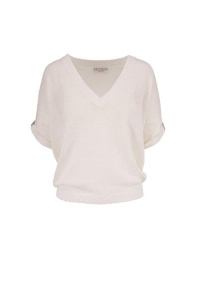 Brunello Cucinelli - White Linen & Silk Paillette Short Sleeve Sweater