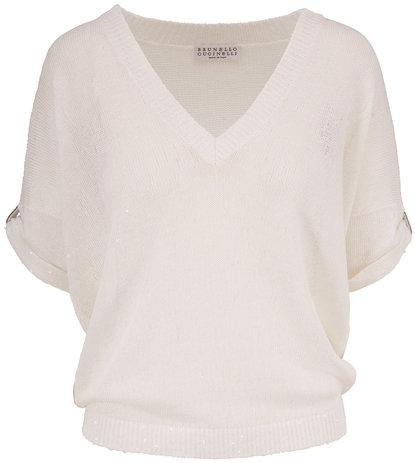 Brunello Cucinelli White Linen & Silk Paillette Short Sleeve Sweater