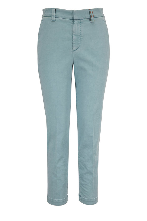 Brunello Cucinelli Aqua Stretch Cotton Monili Belt Loop Skinny Pant