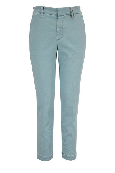 Brunello Cucinelli - Exclusively Ours! Aqua Monili Loop Skinny Pant