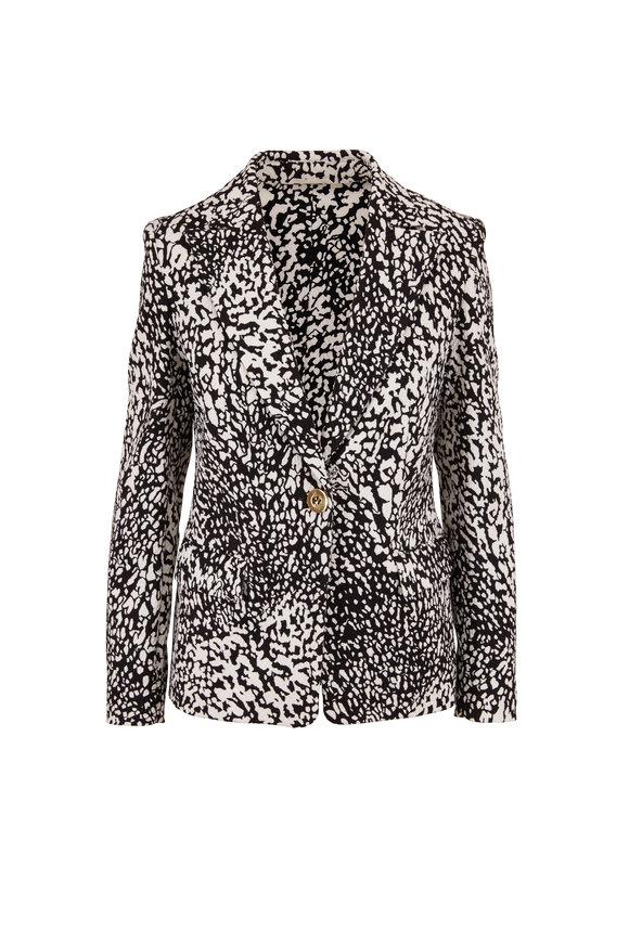 Escada Brikenati Black & White Animal Print Jacket