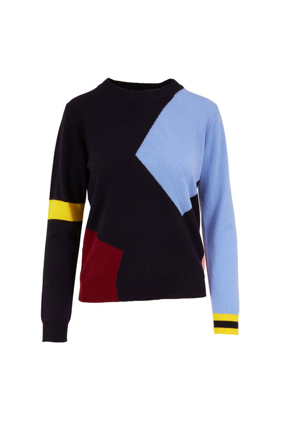 Chinti & Parker Navy Abstract Print Cashmere Crewneck Sweater
