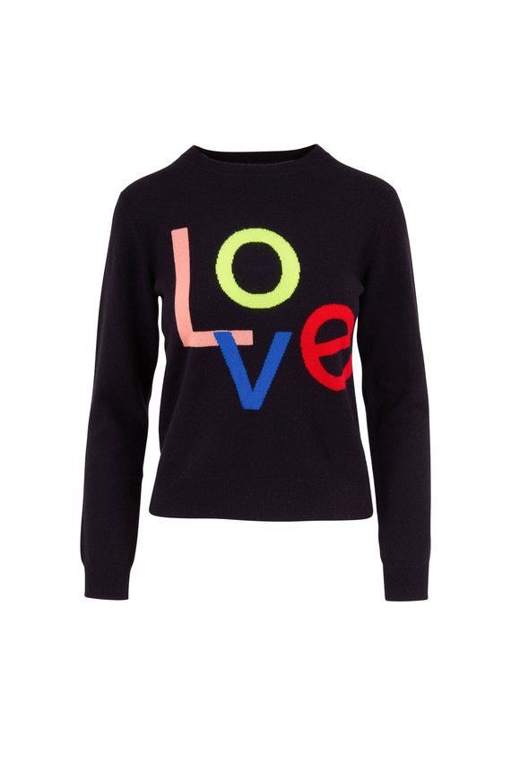 Chinti & Parker Navy Love Intarsia Cashmere Crewneck Sweater
