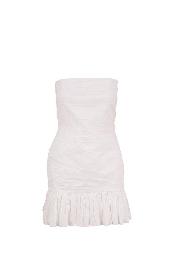 Zeynep Arcay White Ruched Cotton Strapless Mini Dress