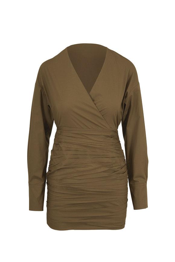 Zeynep Arcay Khaki Green Ruched Cotton Long Sleeve Mini Dress