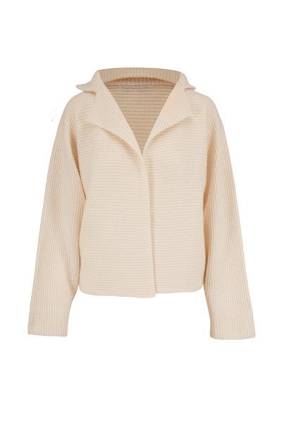 Mandkhai - White Ribbed Cashmere Kimono Jacket