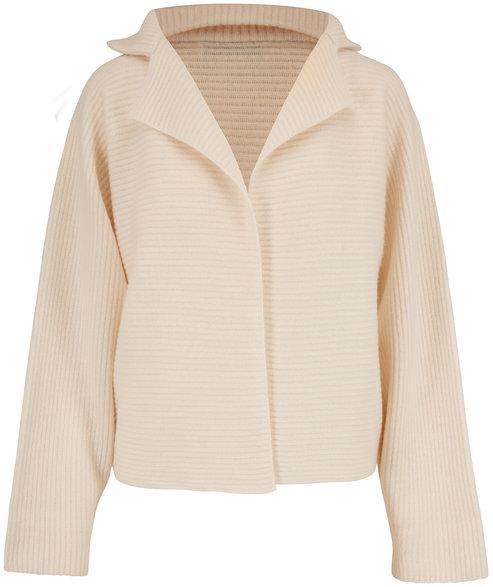 Mandkhai White Ribbed Cashmere Kimono Jacket