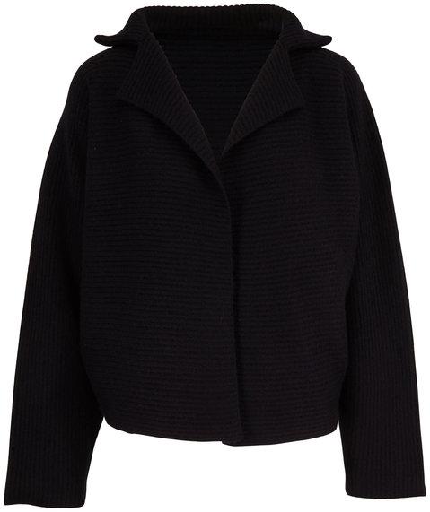 Mandkhai Black Ribbed Cashmere Kimono Jacket