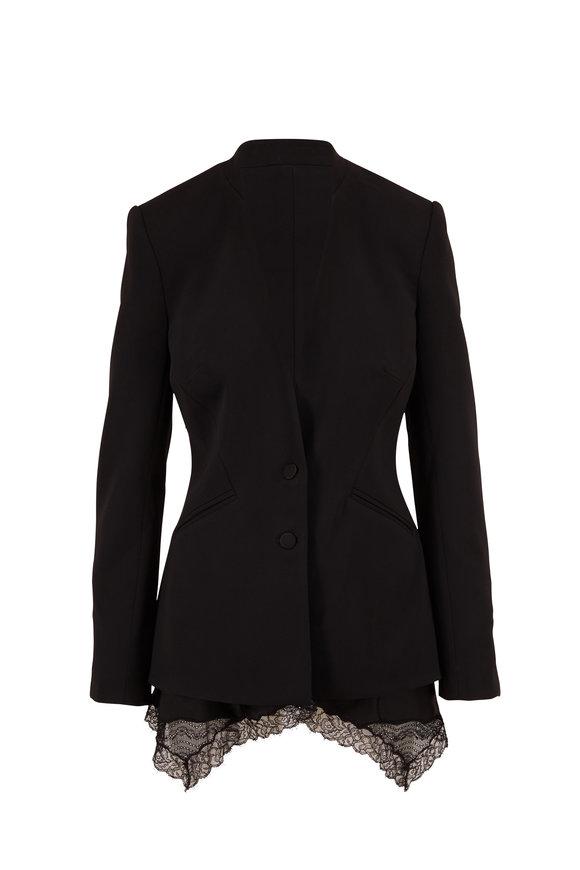 Jonathan Simkhai Black Lace Hem Two Button Jacket