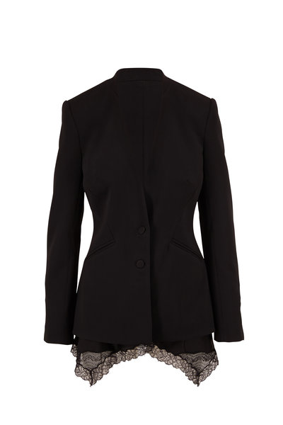 Jonathan Simkhai - Black Lace Hem Two Button Jacket
