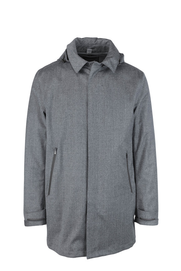 Herno Gray Wool Weather-Proof Jacket