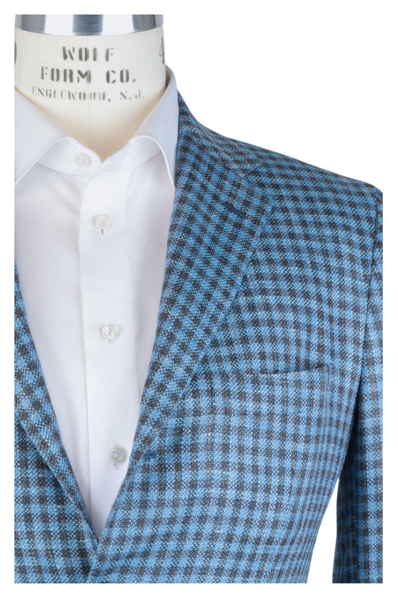 Kiton Blue & Brown Check Cashmere Blend Sortcoat