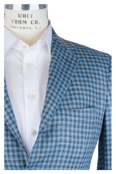 Kiton - Blue & Brown Check Cashmere Blend Sortcoat