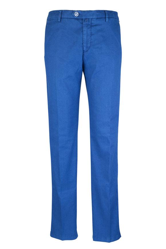 Kiton Blue Linen Blend Straight Leg Pant