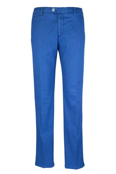Kiton - Blue Linen Blend Straight Leg Pant