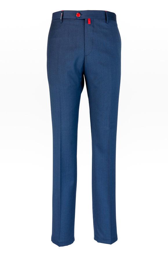 Kiton Navy Blue Stretch Wool Pant