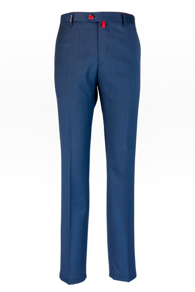 Kiton - Navy Blue Stretch Wool Pant