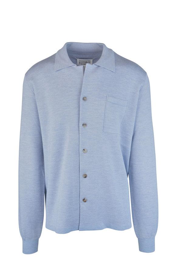 Maison Margiela Light Blue Wool Front Button Knit Sport Shirt