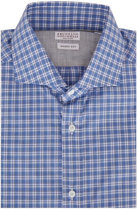Brunello Cucinelli Light Blue & White Check Basic Fit Sport Shirt