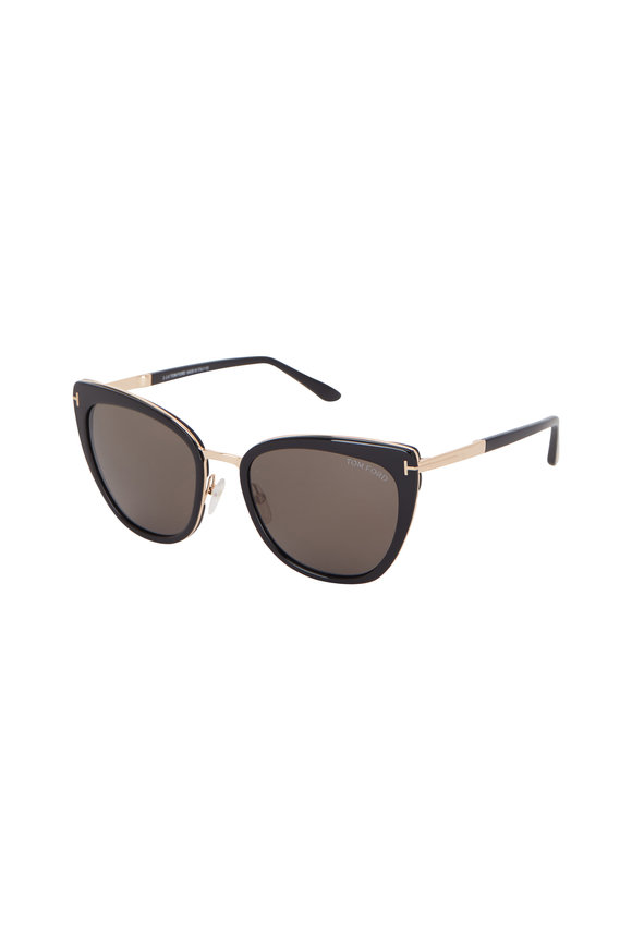 Tom Ford Eyewear Simona Shiny Black Cat Eye Sunglasses