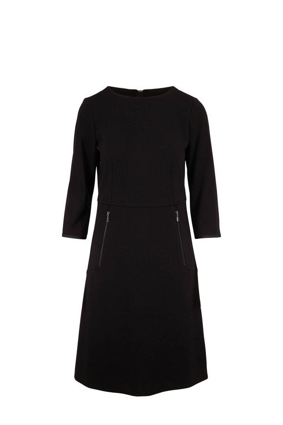 Bogner Luciana Black Jersey Three-Quarter Sleeve Dress