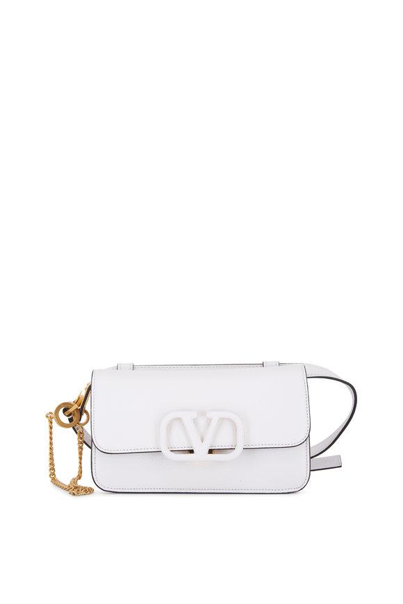 Valentino Garavani VSling White Grained Leather Belt Bag