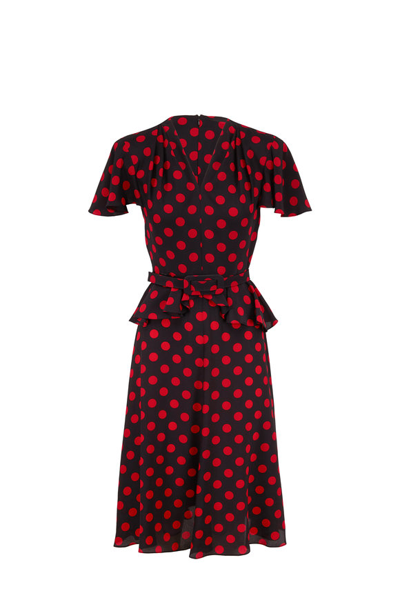 Michael Kors Collection Black & Crimson Dot Silk Short Sleeve Belted Dress