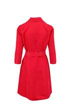 Carolina Herrera - Icon Red Taffeta Belted A-Line Shirtdress