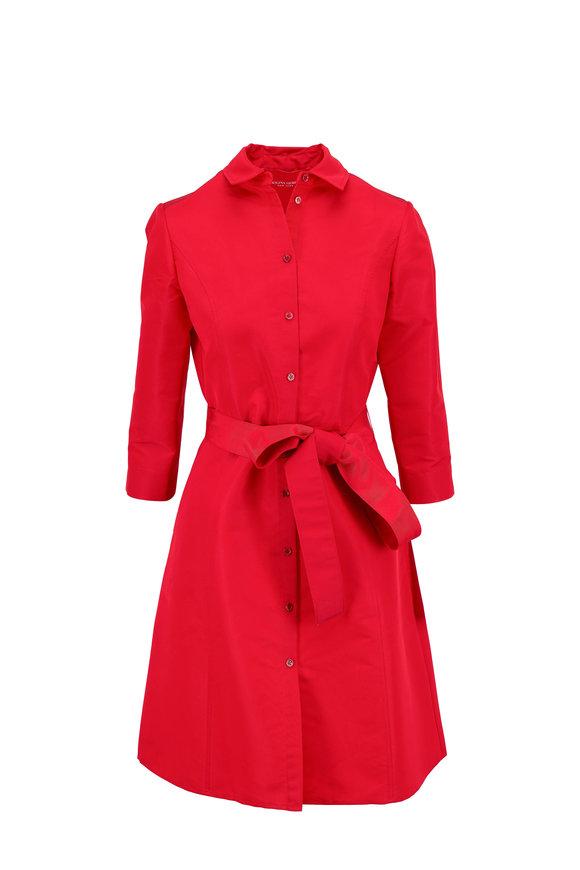 Carolina Herrera Icon Red Taffeta Belted A-Line Shirtdress