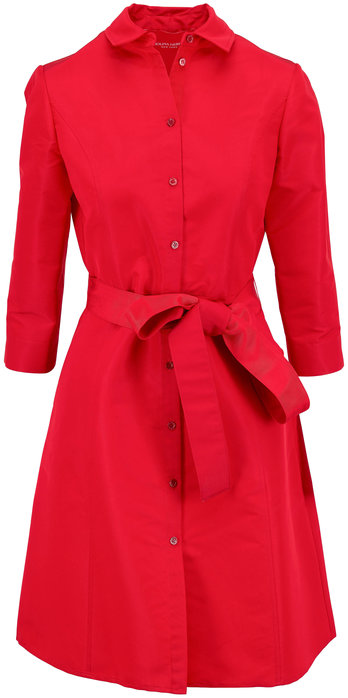 Carolina Herrera Icon Red Taffeta Belted A-Line Shirtdress